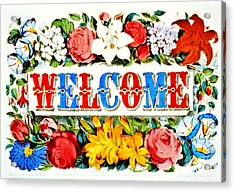 Illuminated Welcome Sign 1873 Acrylic Print by Padre Art