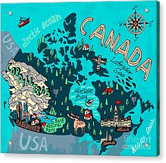 Illustrated Map Of Canada. Travel Acrylic Print