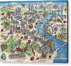 Illustrated Map Of London Acrylic Print