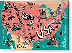 Illustrated Map Of Usa Acrylic Print by Daria i