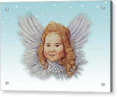 Illustrated Twinkling Angel Acrylic Print