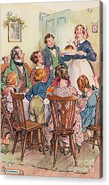 Illustration For A Christmas Carol Acrylic Print by Charles Edmund Brock