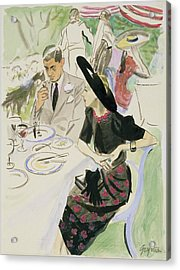 Illustration Of A Couple Dining Outdoors Acrylic Print by R.S. Grafstrom