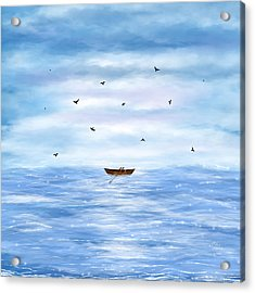 Illustration Of A Lonely Boat Acrylic Print