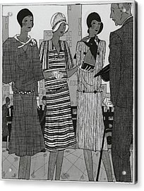 Illustration Of A Man And Three Fashionable Women Acrylic Print