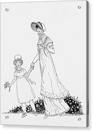 Illustration Of A Nineteenth Century Mother Acrylic Print