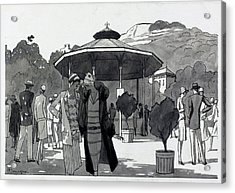 Illustration Of A People At A Fountain In Aix Les Acrylic Print