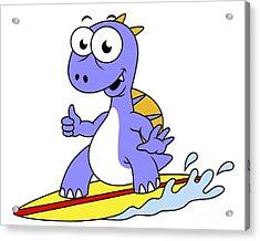 Illustration Of A Surfing Spinosaurus Acrylic Print