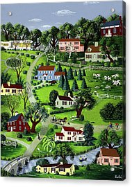 Illustration Of A Village Acrylic Print