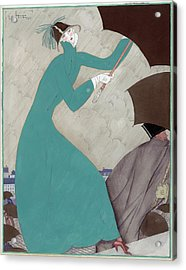 Illustration Of A Woman In The Rain Acrylic Print by Georges Lepape