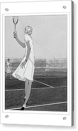 Illustration Of A Woman Playing Tennis Acrylic Print