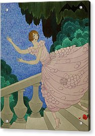 Illustration Of A Woman Running Down A Staircase Acrylic Print by Harriet Meserole