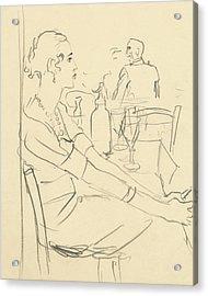 Illustration Of A Woman Sitting Down Acrylic Print