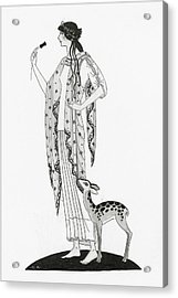 Illustration Of A Woman With A Deer Acrylic Print