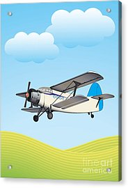 Illustration Of Biplane Flying Acrylic Print