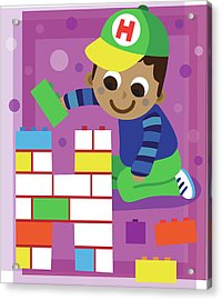 Illustration Of Boy Making Letter H With Blocks Acrylic Print by Fanatic Studio / Science Photo Library