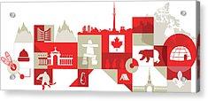 Illustration Of Canadian Lifestyle Over White Background Acrylic Print