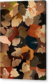 Illustration Of Crowd Acrylic Print by Fanatic Studio / Science Photo Library