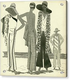 Illustration Of Four Women At A Beach Acrylic Print by Harriet Meserole