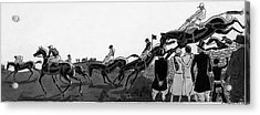 Illustration Of Jockeys Riding Horses Acrylic Print
