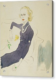 Illustration Of Lady Abdy Sitting On Sofa Acrylic Print by Cecil Beaton