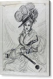 Illustration Of Mae West Wearing An Ostrich Acrylic Print by Rene Bouet-Willaumez