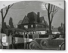 Illustration Of Men And Women Outside Of A Large Acrylic Print by William Bolin