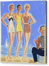 Illustration Of Models On A Beach Wearing Bathing Acrylic Print
