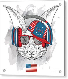 Illustration Of Rabbit In The Glasses Acrylic Print