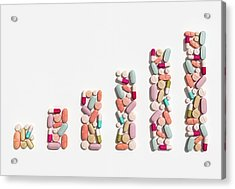 Illustration Of Rising Cost Of Prescription Drugs Acrylic Print by Fanatic Studio / Science Photo Library