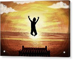 Illustration Of Teenage Boy Jumping In Lake At Sunset Acrylic Print