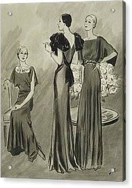 Illustration Of Three Models In Evening Gowns Acrylic Print