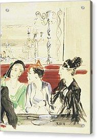 Illustration Of Three Women Wearing Designer Hats Acrylic Print by Rene Bouet-Willaumez