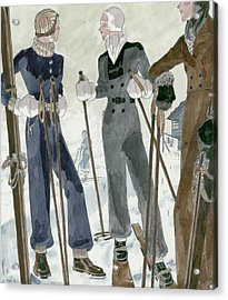 Illustration Of Three Women Wearing Ski Suits Acrylic Print
