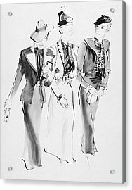 Illustration Of Three Women Wearing Skirt Suit Acrylic Print by Rene Bouet-Willaumez