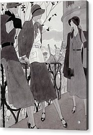 Illustration Of Three Women Wearing Stylish Suits Acrylic Print by Jean Pages