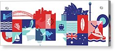 Illustration Of Tourist Attractions In Australia Acrylic Print by Fanatic Studio / Science Photo Library