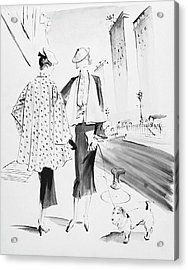 Illustration Of Two Fashionable Women Acrylic Print by Rene Bouet-Willaumez