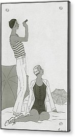 Illustration Of Two Women At A Beach Acrylic Print