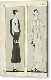 Illustration Of Two Women In Elegant Fashion Acrylic Print by Douglas Pollard