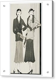 Illustration Of Two Women Modeling Suits Acrylic Print by Douglas Pollard