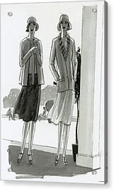 Illustration Of Two Women Standing In A Shadow Acrylic Print by Porter Woodruff