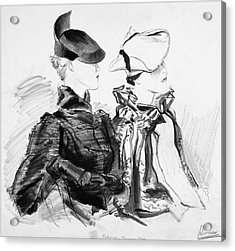 Illustration Of Two Women Wearing Berets And Capes Acrylic Print