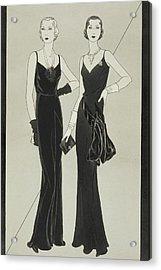 Illustration Of Two Women Wearing Mainbocher Acrylic Print