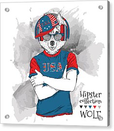 Illustration Of Wolf  Dressed Up In The Acrylic Print