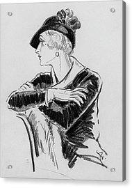 Illustration Of Woman Wearing Franklin Simon Hat Acrylic Print by Porter Woodruff
