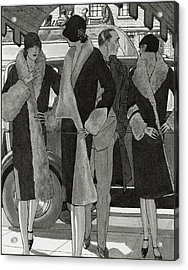 Illustration Of Women Wearing Coats Acrylic Print