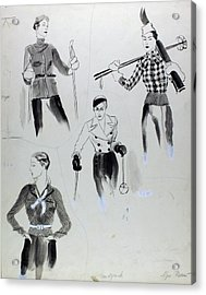 Illustration Of Women Wearing Ski Clothing Acrylic Print