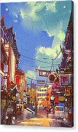 Illustration Painting Of Shopping Acrylic Print by Tithi Luadthong