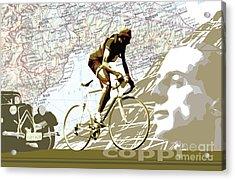 Illustration Print Giro De Italia Coppi Vintage Map Cycling Acrylic Print by Sassan Filsoof
